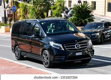 Monte-Carlo, Monaco - March 12, 2019: Black passenger van Mercedes-Benz W447 Viano in the city street.