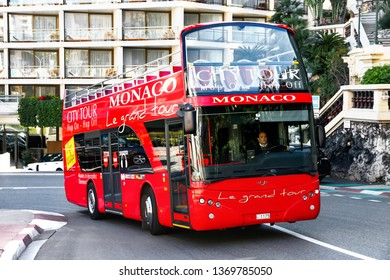 Monte-Carlo, Monaco - March 12, 2019: Red sightseeing bus Ayats Bravo I in the city street.