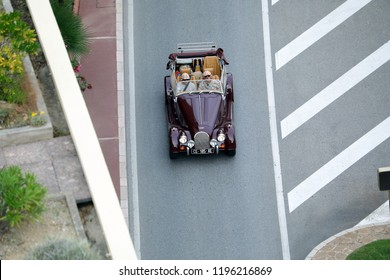 Monte-Carlo, Monaco - October 5 2018 : Aerial View Of A Vintage Morgan Plus 4 Classic British Convertible Sports Car (Top View) Driving On The Boulevard Du Larvotto In Monaco, French Riviera