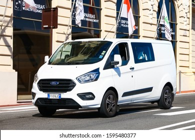 Monte-Carlo, Monaco - September 12, 2019: White cargo van Ford Transit in the city street.