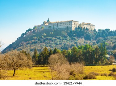 Montecassino, Italy - 17 February 2019 - The Montecassino Abbey, on Cassino city province of Latina, is the first house of the Benedictine catholic Order, by Benedict of Nursia. During World War II it