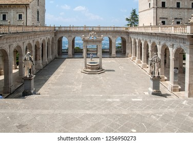 Montecassino, Italy - June 17, 2017: Cistern in the Cloister of Bramante, Benedictine abbey of Montecassino. Italy