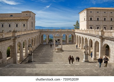 MONTECASSINO, ITALY - MARCH 12,2017 - Montecassino Abbey is a national landmark in Italy. Completely bombed during World War II, the abbey was reconstructed following original plan. Bramante cloister