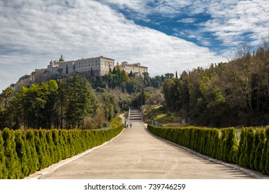 MONTECASSINO, ITALY - MARCH 12,2017 - Montecassino Abbey is a national landmark in Italy. Completely bombed during World War II, the monastery was carefully reconstructed following the original plan.