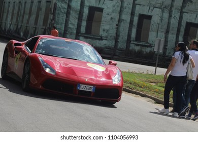 Montecatini, Italy - May 20, 1917: racing cars in rally Mille Miglia 2017 the famous italian historical race