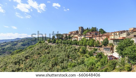 Montecatini Terme, Tuscany, Italy - Panorama of Montecatini Alto (old town)