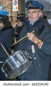 Montechiaro d'Asti, Italy - November 8, 2009: Performers of the local band. Pope Francis's family lived in this village before emigrating to Argentina.
