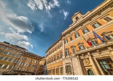 Montecitorio palace in Rome, Italy. Italian parliament