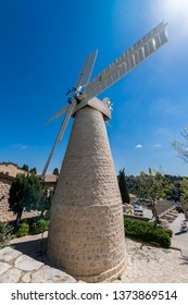 Montefiore windmill in Jerusalem. It is a famous municipal historical museum and public domain in Israel