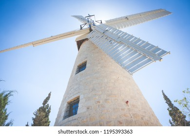 Montefiore windmill tourist site in Jerusalem neighborhood of Yemin Moshe in the afternoon