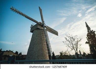 Montefiore windmill tourist site in Jerusalem neighborhood of Yemin Moshe in the afternoon.