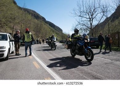 MONTEFORTINO,ITALY - MARCH 26.2017: Motorcycle event in the Sanctuary of Madonna dell' Ambro
