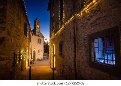MONTEGEMOLI, ITALY - JANUARY 04, 2019: The village of Montegemoli during the Christmas period hosts the event on the nativity scenes, Pomarance municipality, Pisa - Italy