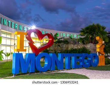 Montego Bay, Jamaica - February 02 2019: I love Montego Bay/ I heart Montego Bay sign at the Sangster International Airport (MBJ) in Montego Bay, Jamaica, unveiled in 2018.