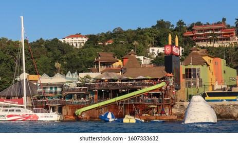 Montego Bay, Jamaica - January 05 2020: Margaritaville photographed from a catamaran.