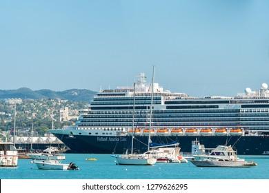 Montego Bay, Jamaica - January 09 2019: Holland America Nieuw Statendam Cruise Ship docked at the Montego Bay Cruise Port Terminal in Freeport