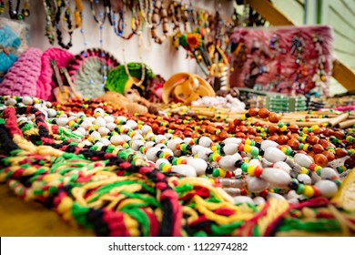 Montego Bay, Jamaica - June 04 2015: Bead chains and other products for purchase at a local craft market in Montego Bay, Jamaica.