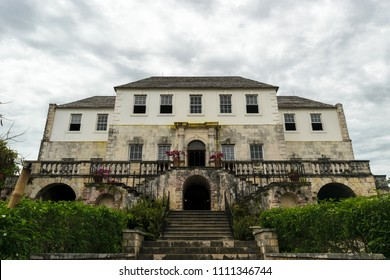 Montego Bay, Jamaica  - June 05 2015: Front view of the Rose Hall Great House in Montego Bay, Jamaica.
