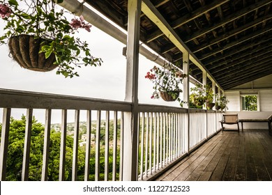 Montego Bay, Jamaica - June 06 2015: Upstairs patio/ balcony at the Greenwood Great House Antique Museum in Montego Bay, Jamaica.
