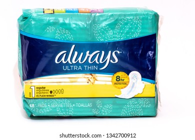 Montego Bay, Jamaica - March 15 2019: Always Ultra Thin Pads/ Sanitary Napkins for women, isolated on white background