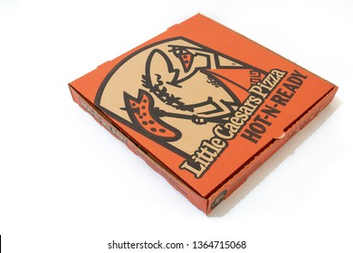Montego Bay, Jamaica - March 21 2019: Little Caesars Pizza Box isolated on white background