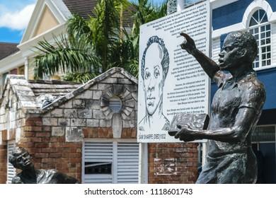 Montego Bay, Jamaica - May 31 2015: Monument of one of Jamaica's National Heroes Sam Sharpe in Sam Sharpe Square, Montego Bay, Jamaica.