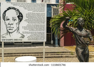 Montego Bay, Jamaica - May 31 2015: Monument of one of Jamaica's National Heroes Sam Sharpe in Sam Sharpe Square, Montego Bay, Jamaica.