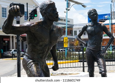 Montego Bay, Jamaica - May 31 2015: Part of a monument in honor of one of Jamaica's National Heroes, Sam Sharpe, in Sam Sharpe Square, Montego Bay, Jamaica.