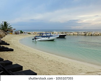 MONTEGO BAY ST JAMES JAMAICA - MAY 23: Beautiful ocean view of boats docked at Montego Bay Jamaica 2016