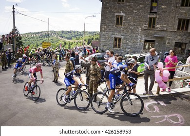 MONTEMAGGIORE, Italy - may, 20. 2016: Leader JUNGELS  Bob in pink jersey -  ETIXX - QUICK STEP, during Giro di Italia 2016, 13st stage, 170km