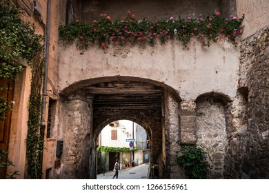 MONTEMERANO, GROSSETO, ITALY - JULY 29, 2018: unknown woman, Montemerano, Tuscany - village in Maremma. Montemerano is a 12th century town in the heart of Maremma, at 55 kilometers from Grosseto, Ital