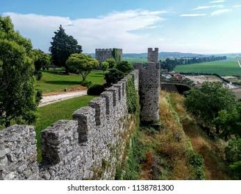 Montemor-o-Velho, Coimbra / Portugal - June 28 2018: Medieval Fortress in Portugal