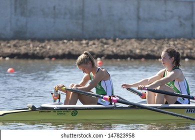 MONTEMOR-O-VELHO, PORTUGAL 10/09/2010. Irish team, LAMBE Claire MCCROHAN Siobhan,, competing in the Lightweight Women's Double Sculls at the 2010 European Rowing Championships