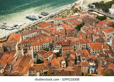 Montenegro. 1 August, 2017. Top view of the Bay of Kotor and the old town. Europe. Montenegro