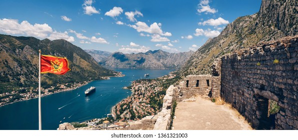 Montenegro Adriatic Sea and mountains. Picturesque panorama of the city of Kotor on a summer day. Panoramic view of the Bay of Kotor and the city. Cruise liner in the Bay of Kotor