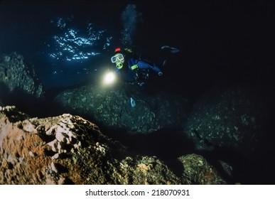 Montenegro, Adriatic Sea, U.W. photo, cave diving - FILM SCAN