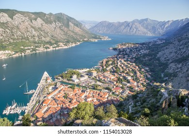 Montenegro. Bay of Kotor (Gulf of Kotor, Boka Kotorska) and walled old city - general view from St. John's Fortress. Fortifications of Kotor is on UNESCO World Heritage List since 1979