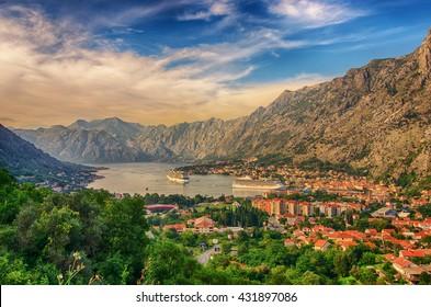 Montenegro. Bay of Kotor (Gulf of Kotor, Boka Kotorska) and walled old city - general view from St. John's Fortress.