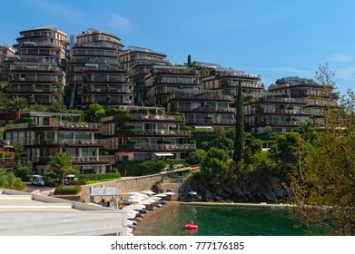 Montenegro, Budva - 08 August, 2017: View of the complex of VIP apartments Dukley Gardens on the Adriatic coast
