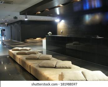 Montenegro, Budva - 21 May, 2012. Luxury lounge five-star hotel. Style hi-tech