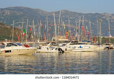 Montenegro, Budva - August 8, 2017: View of the yachts and boats in Budva on the Adriatic coast, Budva Riviera, resort
