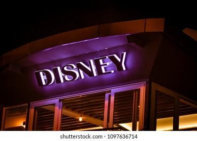 Montenegro, Budva - July, 02, 2017: Luminous advertising signboard with the inscription Disney