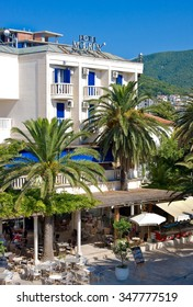 MONTENEGRO, BUDVA - JULY 12, 2015: Hotel Mogren is situated in immediate vicinity of Old Town's confining walls and is one of the oldest hotels in Budva