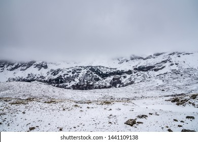 Montenegro, Durmitor national park in white snowscape mood in springtime in may