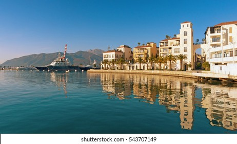 Montenegro. Embankment of Tivat city.