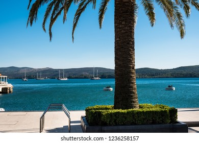 Montenegro. Embankment of Tivat city. View of Porto Montenegro Village. A small European city near the sea and mountains.