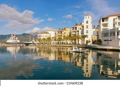 Montenegro. Embankment of Tivat city. View of Porto Montenegro Village