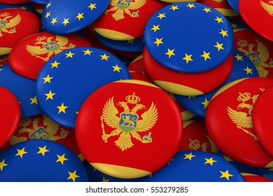 Montenegro and Europe Badges Background - Pile of Montenegrin and European Flag Buttons 3D Illustration
