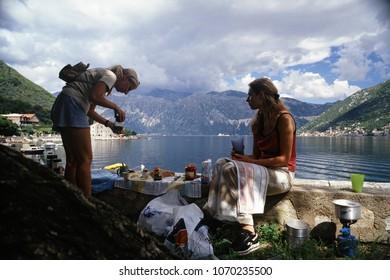 Montenegro, Europe - july, 2008: breafast at the Boka Kotor bay (Boka Kotorska), UNESCO World Heritage Site