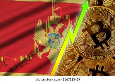 Montenegro flag and cryptocurrency growing trend with many golden bitcoins